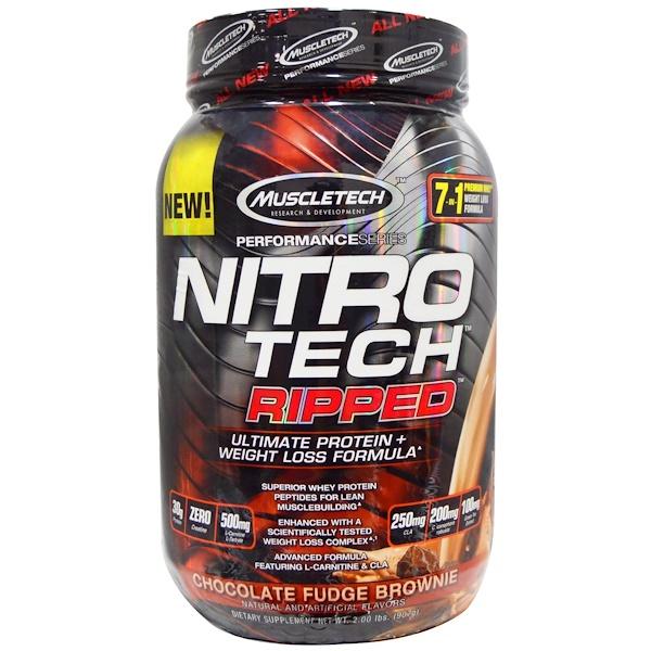 Muscletech, Nitro Tech Ripped終極蛋白 + 減重配方,巧克力軟糖蛋糕, 2、00 lbs (907 g)