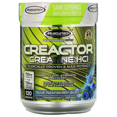 Фото - Creactor, креатин гидрохлорид, голубая малина, 264 г (9,31унции) pro series neurocore pre workout замороженная голубая малина 229г 8 08унции