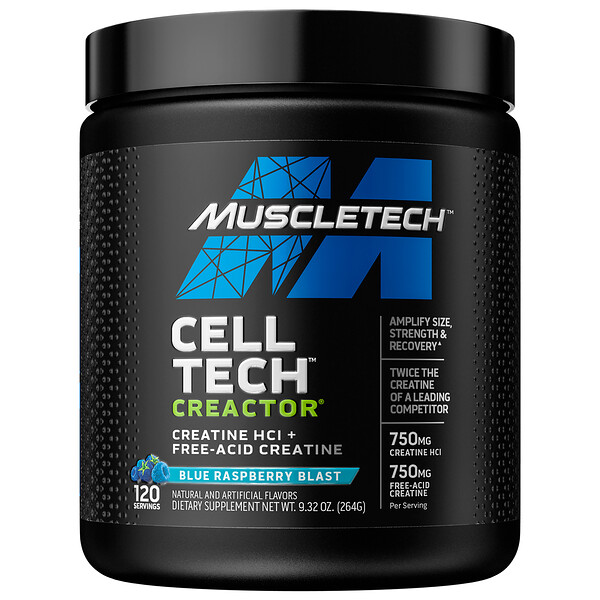 Muscletech, Cell Tech CREACTOR, Creatine HCI + Free-Acid Creatine, Blue Raspberry Blast, 9.32 oz (264 g)