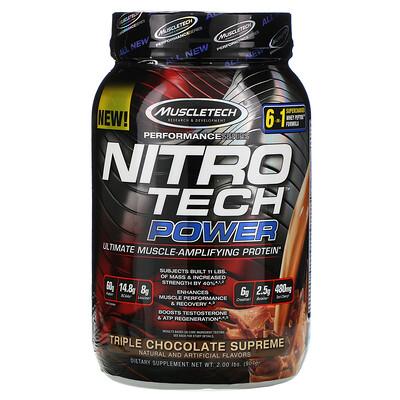 Muscletech Nitro Tech Power, сывороточный протеин для увеличения мышц, тройной шоколад, 907г (2фунта)