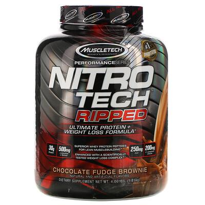 Nitro Tech Ripped, чистый протеин + состав для похудения, со вкусом брауни с шоколадной помадкой, 1,81кг (4фунта)