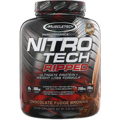 Nitro Tech Ripped, чистый протеин + состав для похудения, со вкусом брауни с шоколадной помадкой, 1,81 кг (4 фунта)