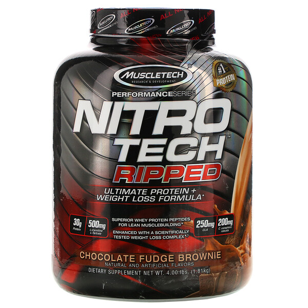 Nitro Tech, Ripped, Ultimate Protein + Weight Loss Formula, Whey Protein Powder, Chocolate Fudge Brownie, 4 lbs (1.81 kg)