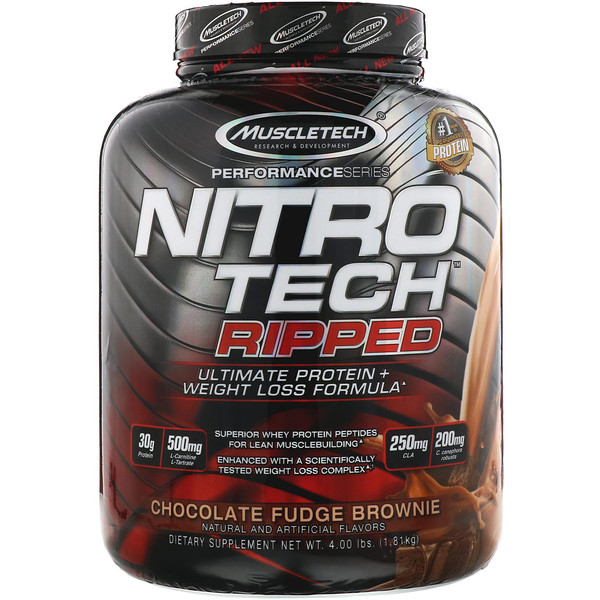 Muscletech, Nitro Tech, Ripped, Ultimate Protein + Weight Loss Formula, Whey Protein Powder, Chocolate Fudge Brownie, 4 lbs (1.81 kg)