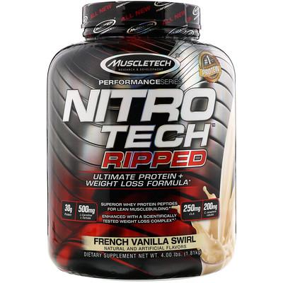 Nitro Tech Ripped, чистый протеин + формула для похудения, французская ваниль, 1,81 кг (4 фунта)