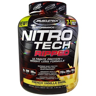 Muscletech, Nitro Tech, Ripped, Ultimate Protein + Weight Loss Formula, French Vanilla Swirl, 4.00 lbs (1.81 kg)