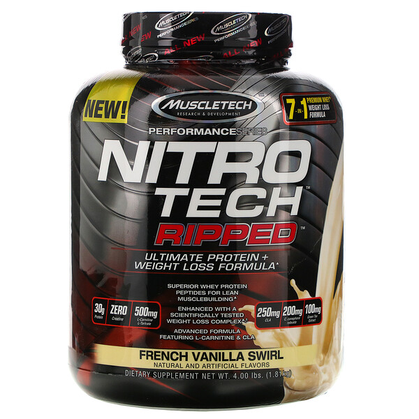 Muscletech, Nitro Tech Ripped, Ultimate Protein + Weight Loss Formula, French Vanilla Swirl, 4 lbs (1.81 kg)