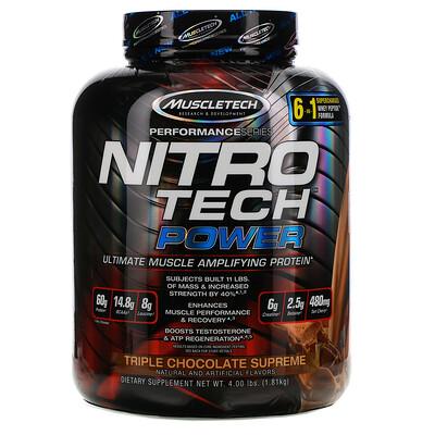 Muscletech Nitro Tech Power, порошок сывороточного протеина для увеличения мышц, тройной шоколад, 1,81кг (4,00фунта)