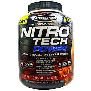 Muscletech, Nitro Tech Power, Ultimate Muscle Amplifying Whey Protein Powder, Triple Chocolate Supreme, 4.00 lbs (1.81 kg)