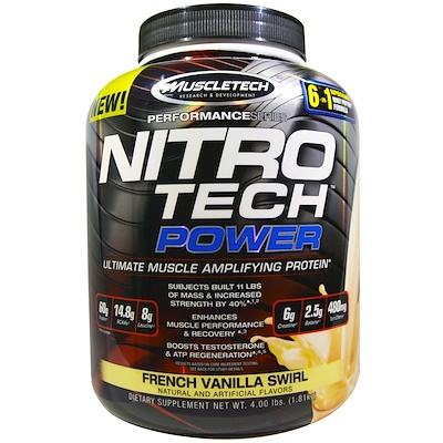 Nitro Tech Power, сывороточный протеин для увеличения мышц, французская ваниль, 1,81 кг (4,00 фунта)
