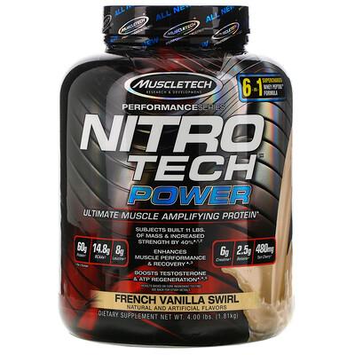 Muscletech Nitro Tech Power, сывороточный протеин для увеличения мышц, французская ваниль, 1,81кг (4,00фунта)