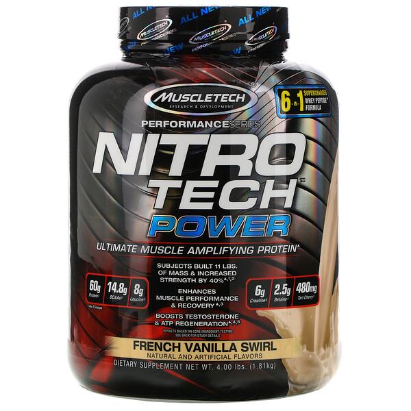 Nitro Tech Power، البروتين المثالي المضخم للعضلات، مزيج الفانيليا الفرنسية، 4.00 أرطال (1.81 كجم)