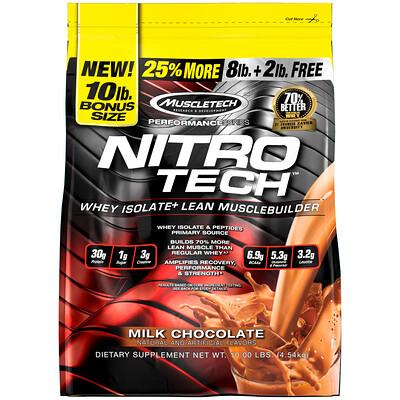 Nitro Tech, сывороточные пептиды и изолят сыворотки, средство для наращивания сухой мышечной массы, сывороточный протеин в порошке, со вкусом молочного шоколада, 4,54 кг (10 фунтов)