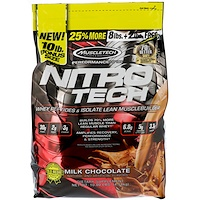 Nitro Tech, Whey Peptides & Isolate Lean Musclebuilder Whey Protein Powder, Milk Chocolate, 10 lbs (4.54 kg) - фото