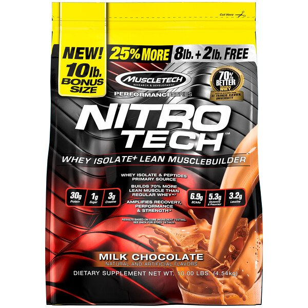 Nitro Tech, Whey Peptides & Isolate Lean Musclebuilder Whey Protein Powder, Milk Chocolate, 10 lbs (4.54 kg)