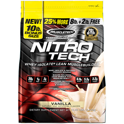 Nitro Tech, изолят сыворотки и средство для наращивания мышечной массы, ваниль, 4,54 кг (10 фунтов)