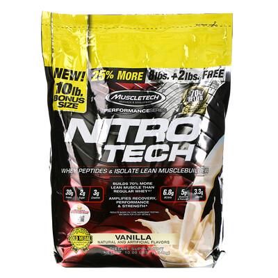 Muscletech Performance Series, Nitro Tech, Whey Peptides & Isolate Lean Musclebuilder, Vanilla, 10 lbs (4.54 kg)