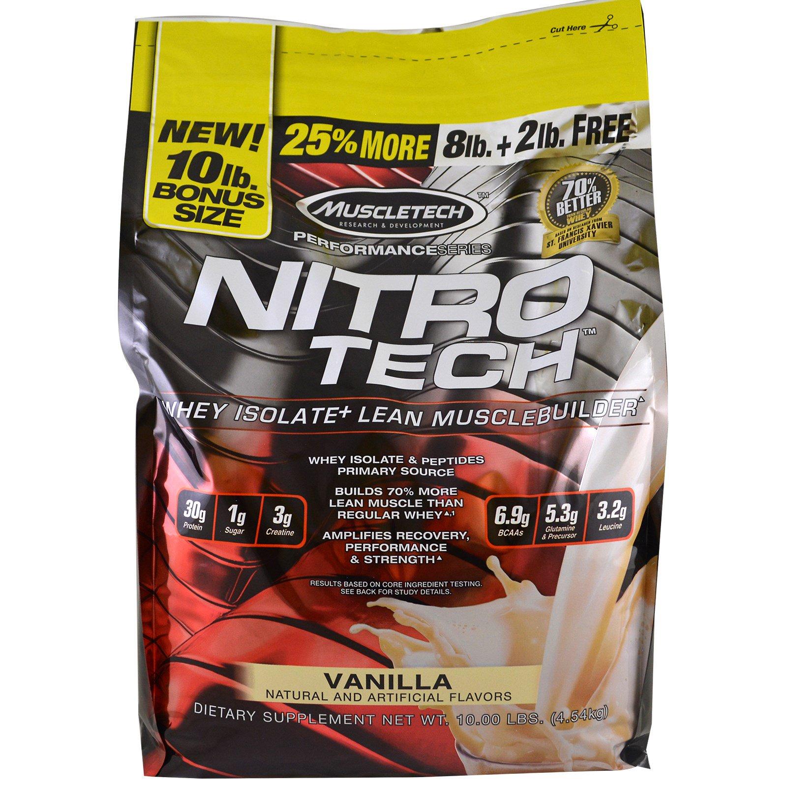 """Muscletech, Серия """"Достижение"""", Nitro-Tech, Изолят молочной сыворотки для наращивания сухой мышечной массы, Ваниль, 10 фунтов (4,54 кг)"""
