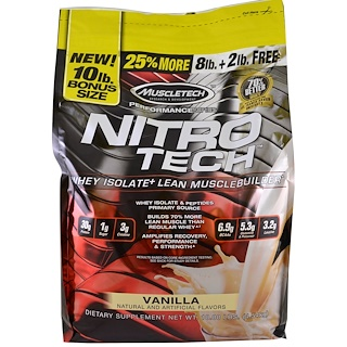 Muscletech, Nitro Tech, Whey Isolate + Lean Musclebuilder, Vanilla, 10 lbs (4.54 kg)