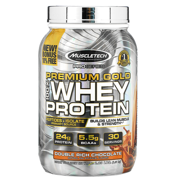 Muscletech, ProSeries, Premium Gold 100% Whey Protein, Double Rich Chocolate, 2.23 lb (1.01 kg)