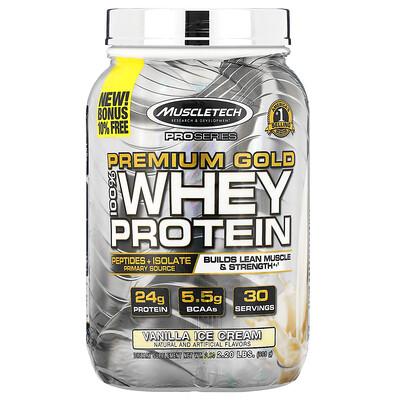 Купить Muscletech ProSeries, Premium Gold 100% Whey Protein, Vanilla Ice Cream, 2.20 lbs (998 g)
