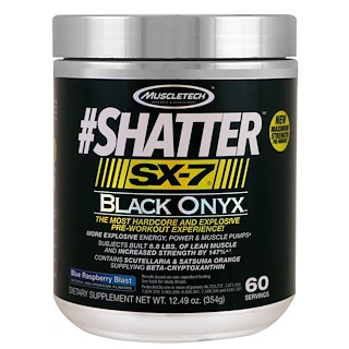 Muscletech, #Shatter, SX-7, Black Onyx, Pre-Workout, Blue Raspberry Blast, 12.49 oz (354 g)