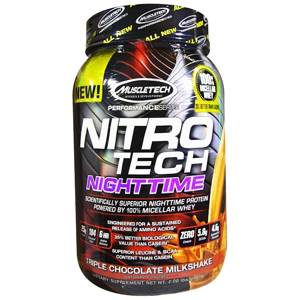 Muscletech, Nitro Tech, Nighttime Protein, Triple Chocolate Milkshake, 2.00 lbs (907 g) (Discontinued Item)