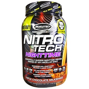 Мусклетек, Nitro Tech, Nighttime Protein, Triple Chocolate Milkshake, 2.00 lbs (907 g) отзывы