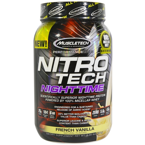 Muscletech, Nitro Tech, Nighttime Protein, French Vanilla, 2.00 lbs (907 g) (Discontinued Item)