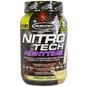 Мусклетек, Nitro Tech, Nighttime Protein, French Vanilla, 2.00 lbs (907 g) отзывы