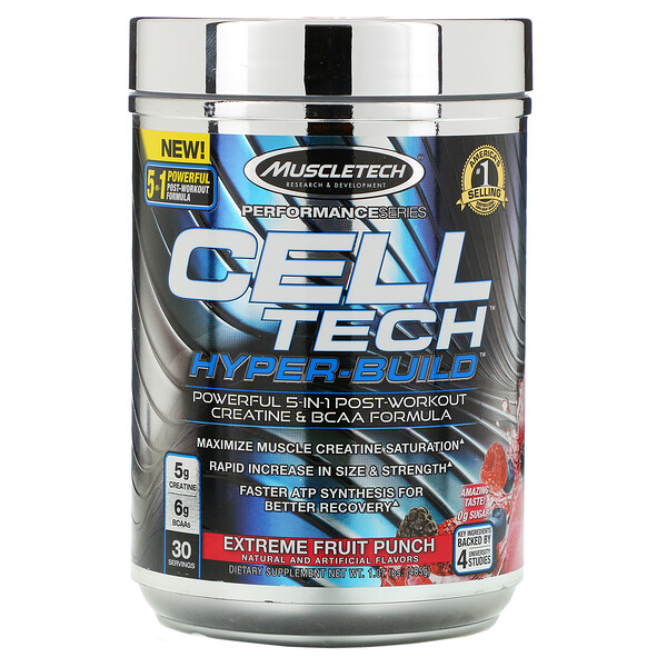 Muscletech, Performance Series, CELL-TECH HYPER-BUILD, Extreme Fruit Punch, 1.07 lbs (485 g)