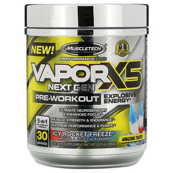 Muscletech, VaporX5 Next Gen، لما قبل التمارين، عصير ثلجي مجمد، 9.31 أونصة (264 جم)