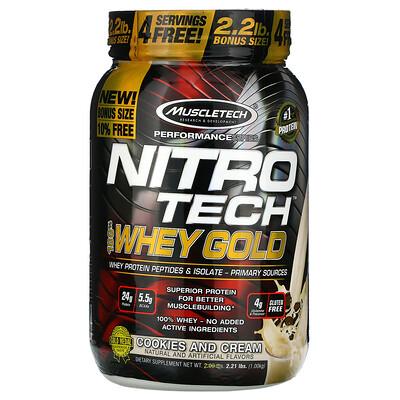 Muscletech Nitro Tech, 100% Whey Gold, сывороточный протеин, печенье с кремом, 1,00кг (2,21фунта)