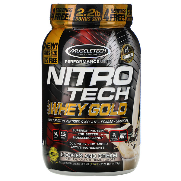 Nitro Tech, 100% Whey Gold, Cookies And Cream, 2.20 lbs (999 g)