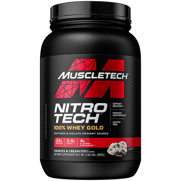 Nitro Tech, 100% Whey Gold, Cookies And Cream, 2.21 lbs (1.00 kg)