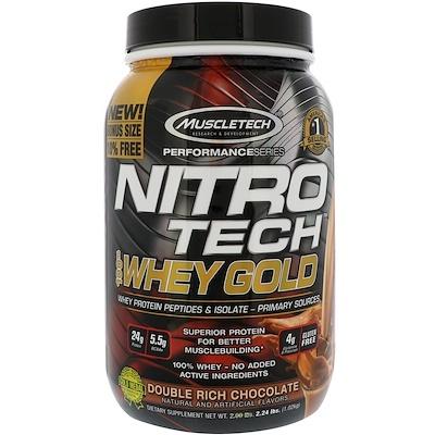 Nitro Tech, 100% Whey Gold (100% сыворотка), двойной шоколад, 1,02 кг (2,24 фунта)