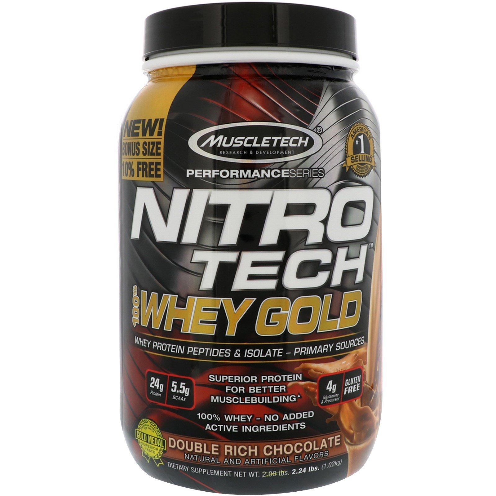 Muscletech, Nitro Tech, 100% сыворотка Gold, Двойной шоколад, 2.24 фунта (1.02кг)
