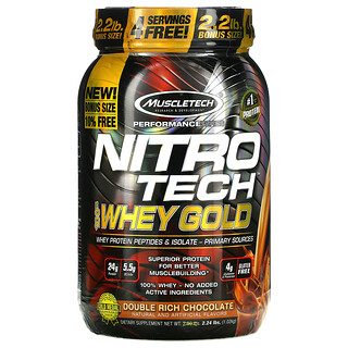 Muscletech, Performance Series, Nitro Tech, 100% Whey Gold, Double Rich Chocolate, 2.24 lbs (1.02 kg)