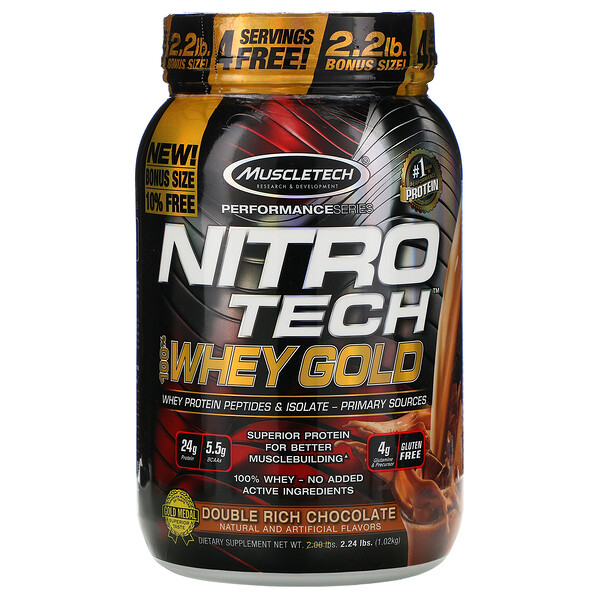 Nitro Tech, 100% Whey Gold, Double Rich Chocolate, 2.24 lbs (1.02 kg)