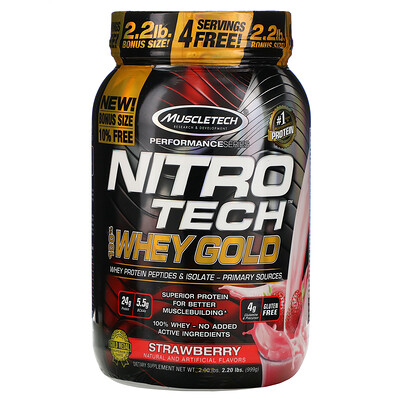 Muscletech Nitro Tech, 100% Whey Gold, со вкусом клубники, 999г (2,20фунта)