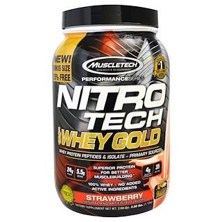 Muscletech, Nitro Tech, 100% Whey Gold, Strawberry, 2.20 lbs (999 g)