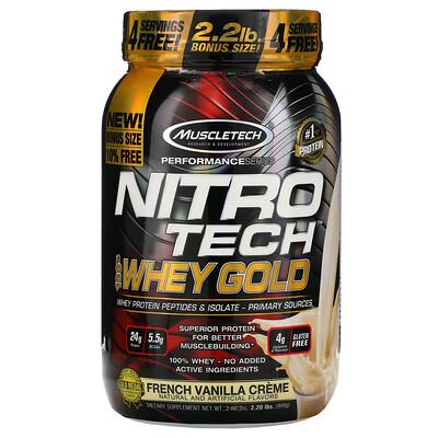 Фото - Nitro Tech, 100% Whey Gold (100% сыворотка), французский ванильный крем, 999г (2,20фунта) gold standard 100 % whey со вкусом соленой карамели 819 г 1 81 фунта