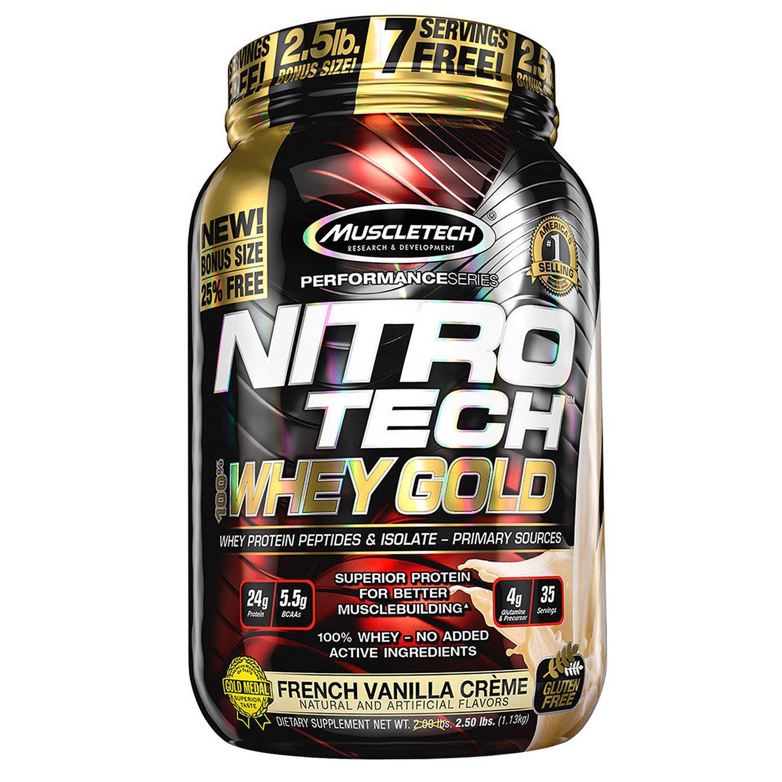 Muscletech, Nitro Tech, 100% Whey Gold, французские ванильные сливки, 999 г (2,2 фунта)