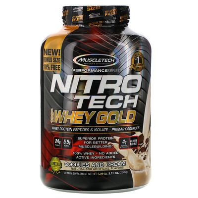Фото - Nitro Tech, 100% Whey Gold, печенье с кремом, 2,51кг (5,53фунта) gold standard 100 % whey со вкусом соленой карамели 819 г 1 81 фунта