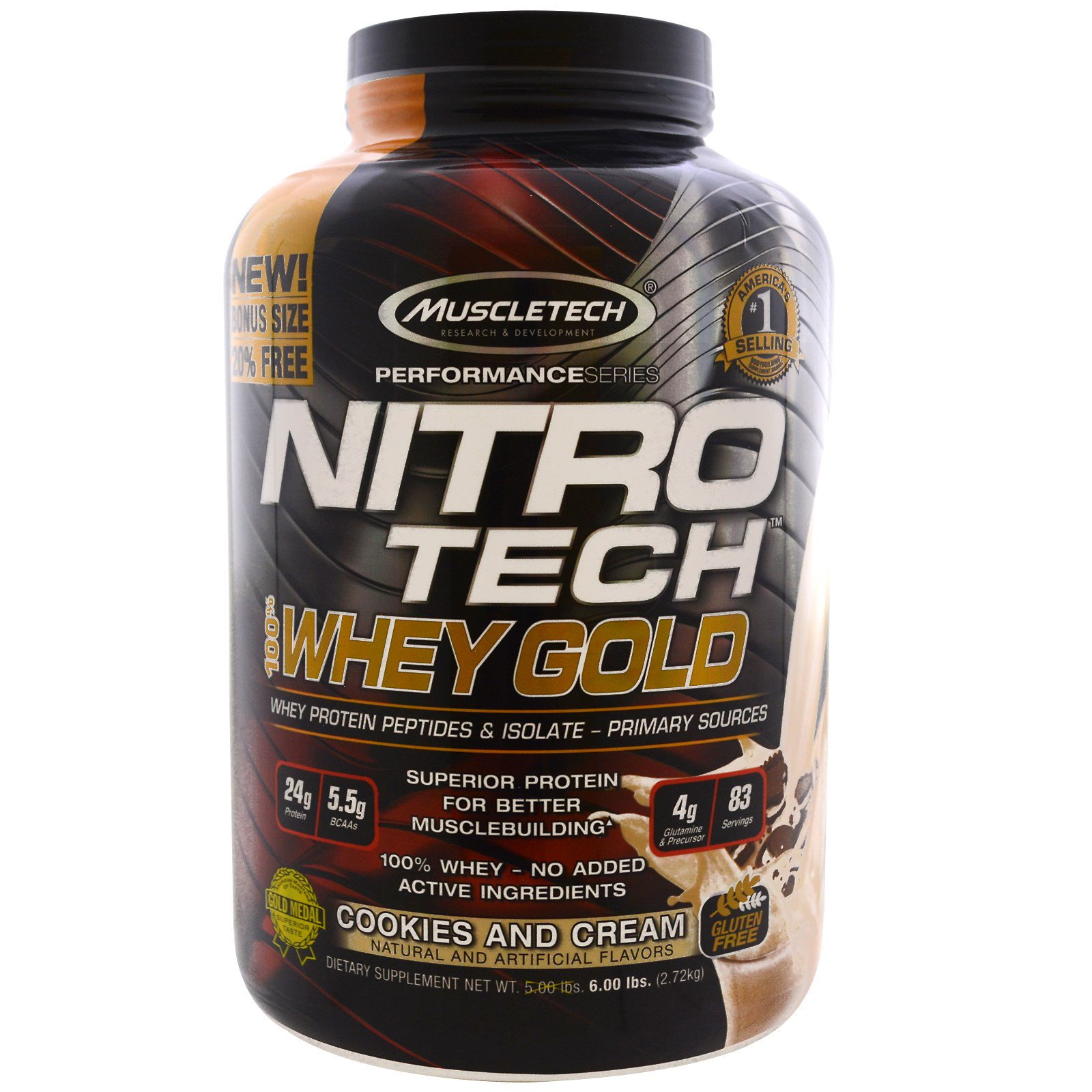Muscletech, Nitro Tech 100% Золотая сыворотка, Печенье и сливки, 5,53 фунта (2,51 кг)