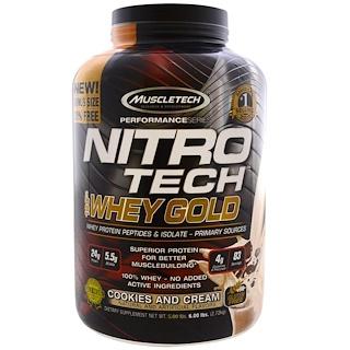 Muscletech, ニトロテク100%ホエイゴールド, クッキーとクリーム, 5.53 lbs (2.51 kg)