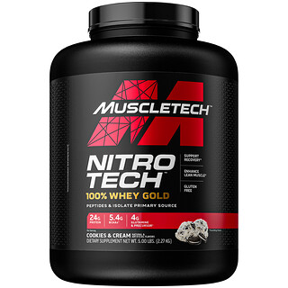 Muscletech, Nitro Tech, 100% Whey Gold, Cookies and Cream, 5 lbs (2.27 kg)