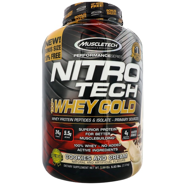 Muscletech, Nitro Tech, 100% Whey Gold, Cookies and Cream, 5.53 lbs (2.51 kg)