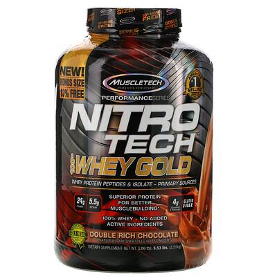 Фото - Nitro Tech, 100% Whey Gold, сывороточный протеин в порошке, двойной шоколад, 2,51кг (5,53фунта) gold standard 100 % whey со вкусом соленой карамели 819 г 1 81 фунта