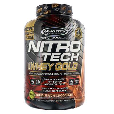 Nitro Tech, 100% Whey Gold, сывороточный протеин в порошке, двойной шоколад, 2,51 кг (5,53 фунта)